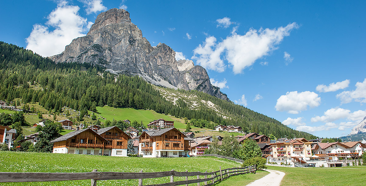 A dirt road leading to the village of Corvara in Alta Badia