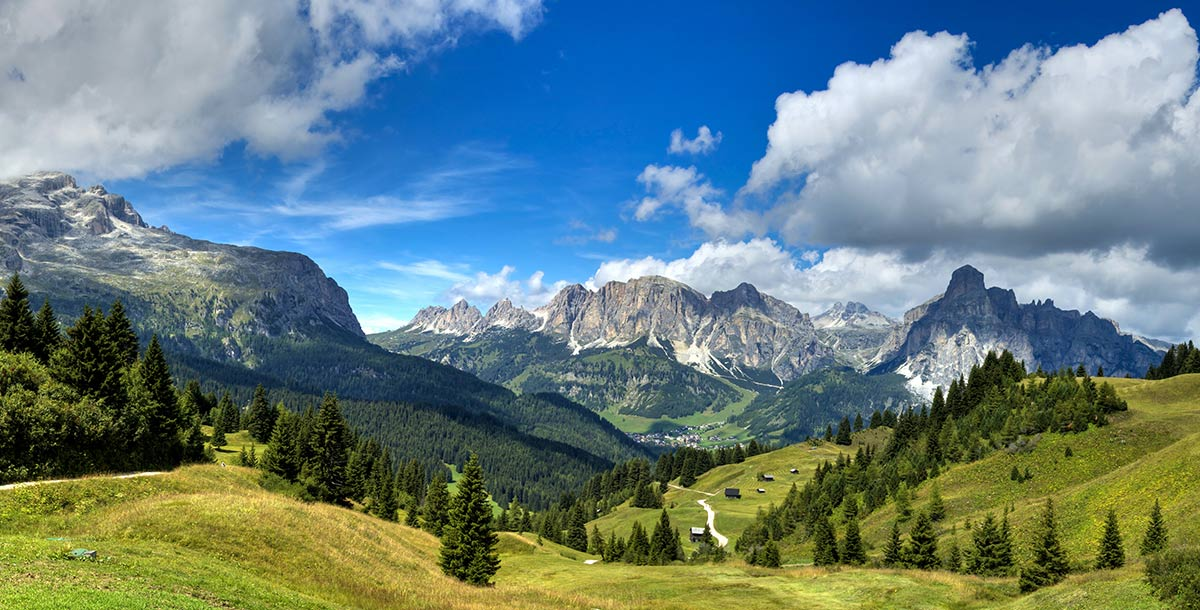 Valleys and mountains of Alta Badia in a summer day