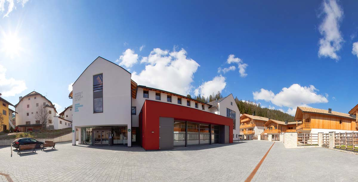 External view of the Ladin culture institute in Alta Badia
