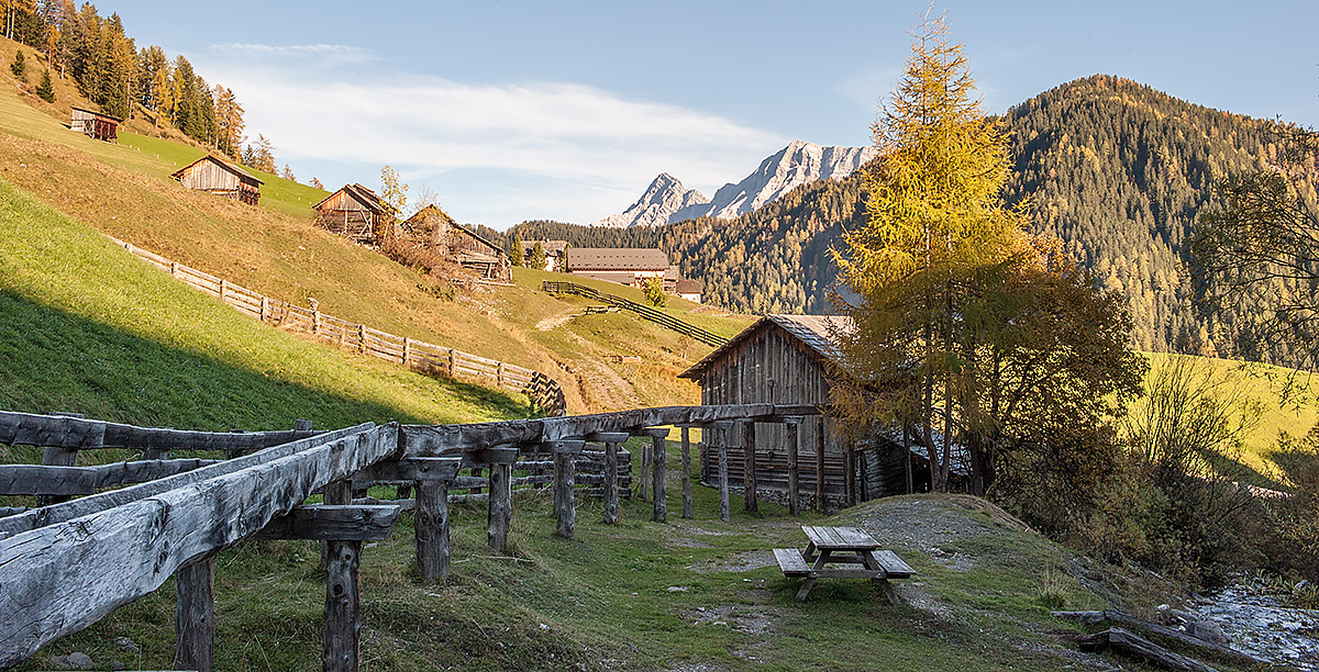 Some small farms on the slope of a mountain in Alta Badia