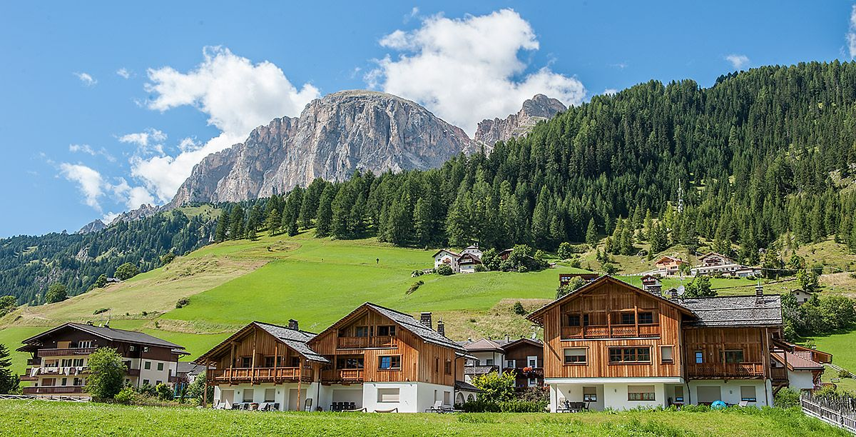 Wooden houses in a valley in South Tyrol