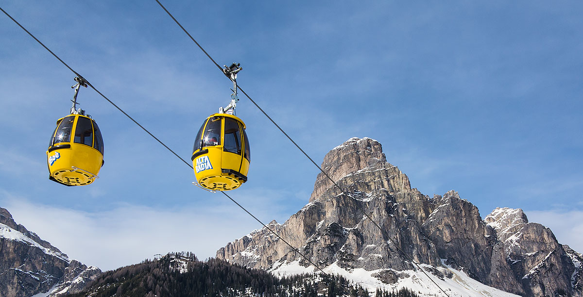 Two yellow cabs of the Boè in Alta Badia