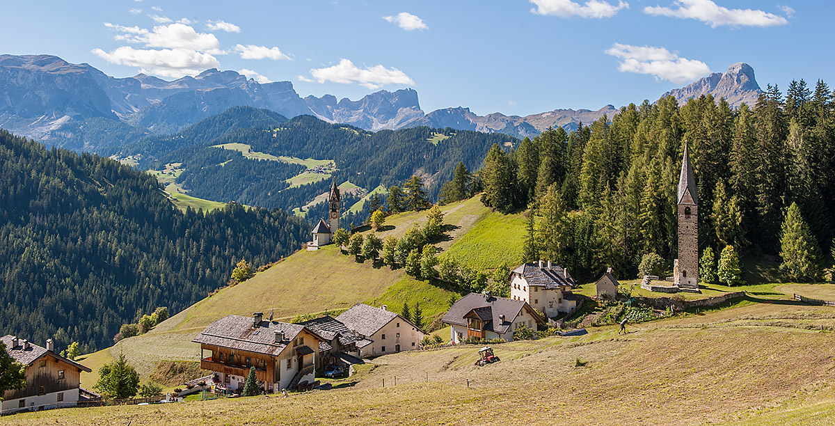 The church and some houses in the village of La Valle in Alta Badia