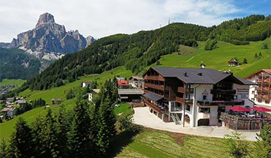 Fantastic view from the Sporthotel Panorama over Corvara in Alta Badia